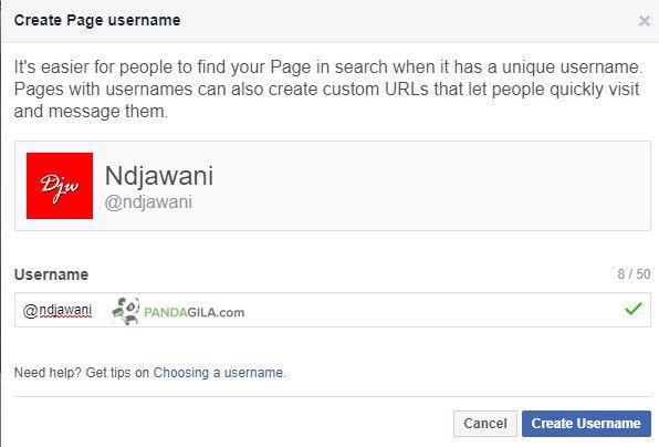 Cara mengatur usernama fanspage Facebook