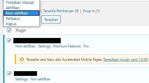 Nonaktifkan Plugin untuk mengatasi Internal Server Error