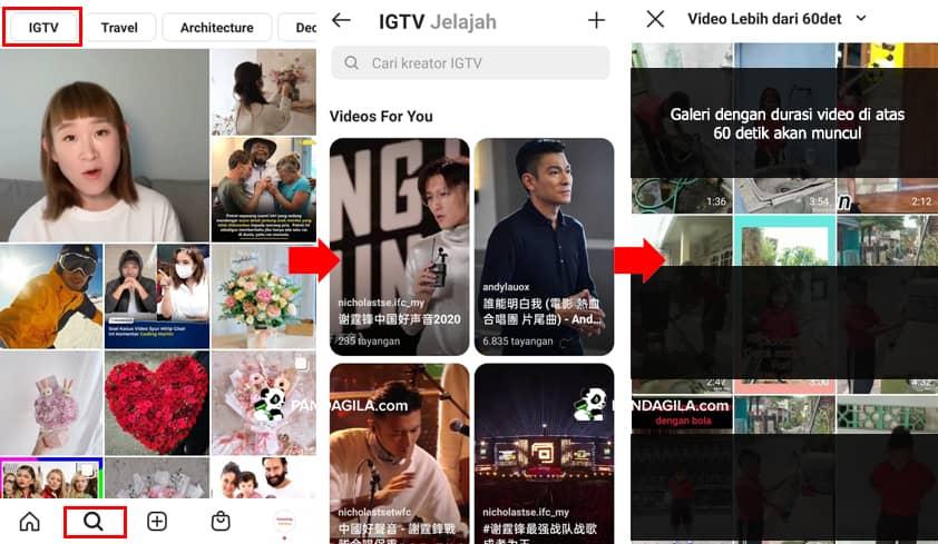 upload video igtv instagram di aplikasi