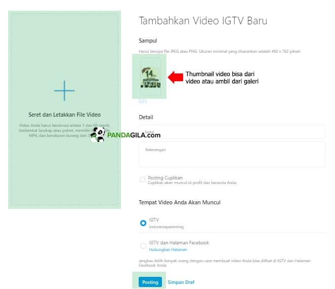 Cara Upload video IGTV di Laptop