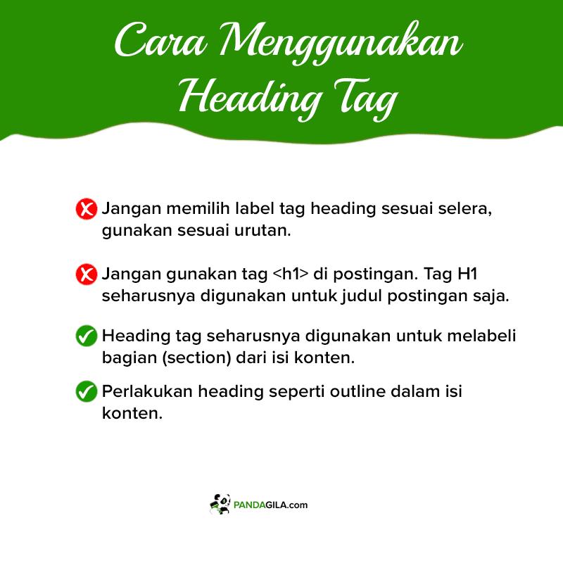 Tips dalam menggunakan heading tag