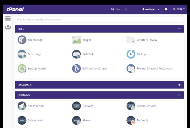 Tampilan cPanel hosting