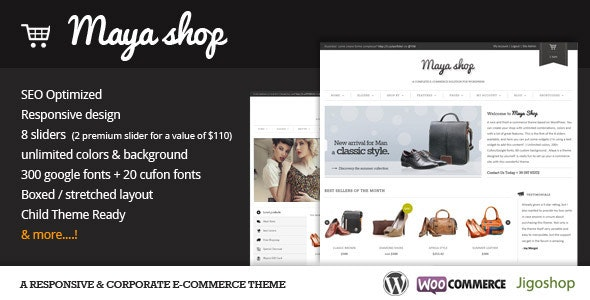 Tema toko online WordPress minimalis, Maya Shop