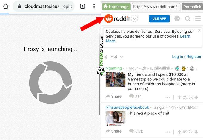 Cara membuka situs Reddit dengan CroxyProxy