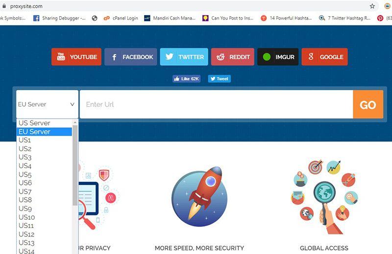 Membuka situs yang diblokir dengan ProxySites