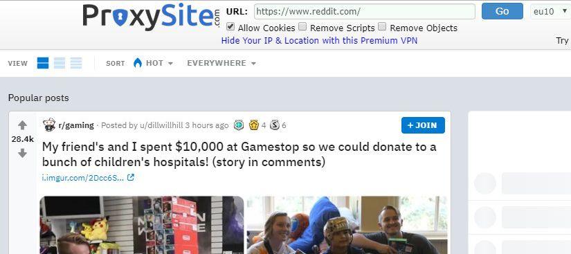 Cara membuka Reddit dengan ProxySite