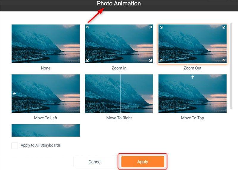 Cara setting FlexClip animation