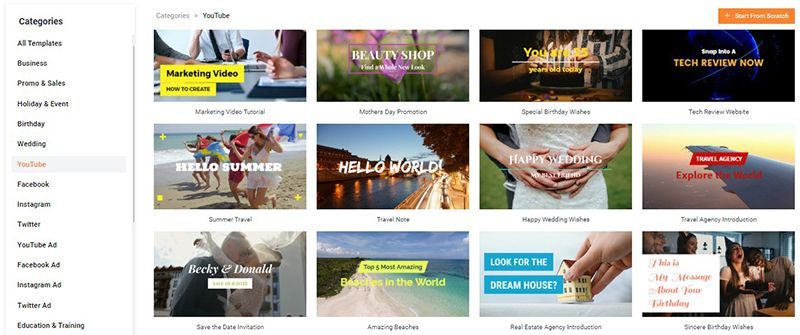 Pilihan ratusan template di FlexClip