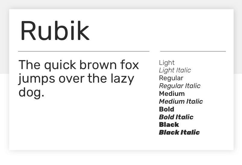 Google fonts Rubik