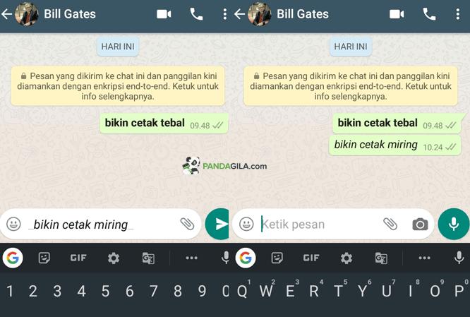 Cara membuat tulisan italic cetak miring di WhatsApp