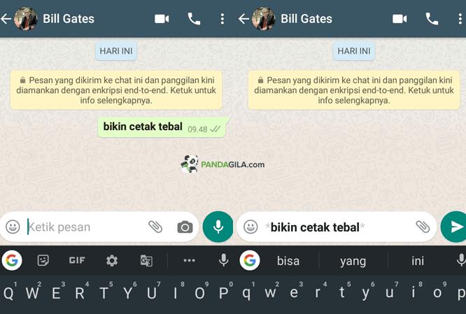 Membuat tulisan cetak tebal bold di WhatsApp