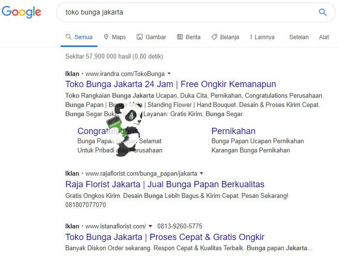 Contoh iklan di hasil pencarian