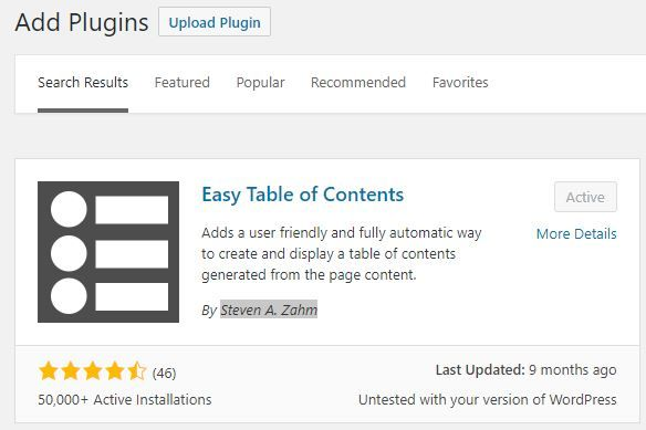 Plugin Easy Table of Content