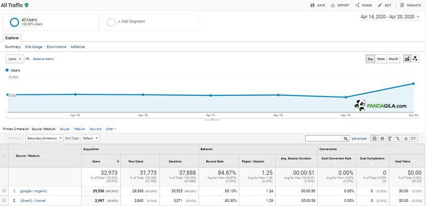 Menganalisa statistik trafik di Google Analytics
