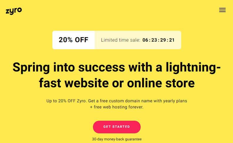 Zyro website builder membantu menciptakan website instan