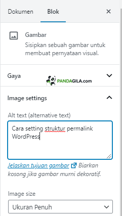 Cara setting Alt text gambar optimasi SEO On Page