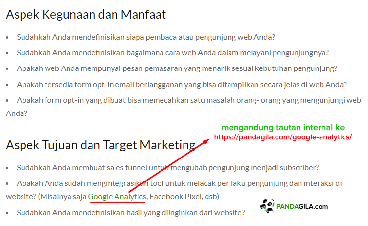 Optimasi SEO On Page dengan internal link