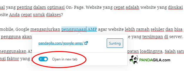 Setting Open in new tab untuk link website