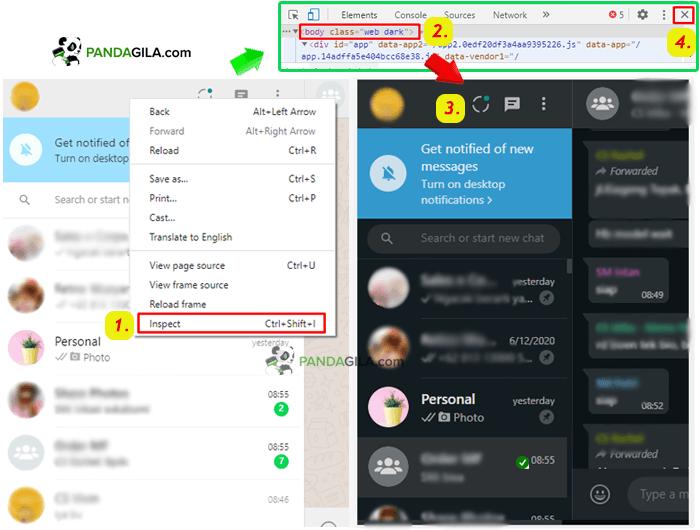 Tutorial WhatsApp Web Dark ThemeApa Saja?
