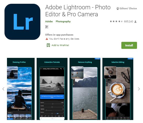 Aplikasi edit foto, Adobe Lightroom