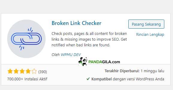 Broken link checker plugin untuk cek link rusak di website WordPress