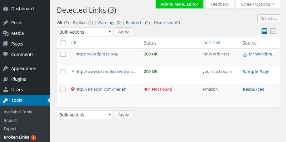Cek broken link di website dengan plugin