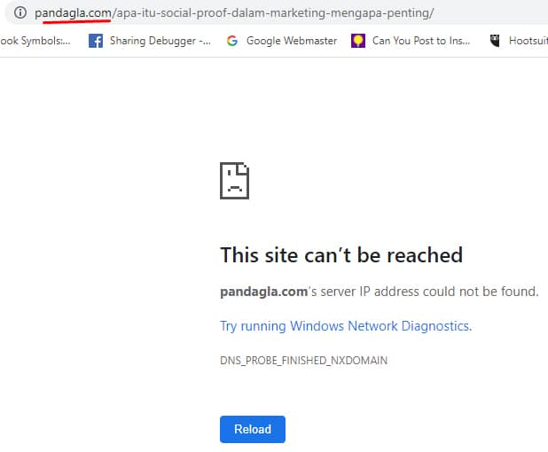 Broken link karena kesalahan alamat url