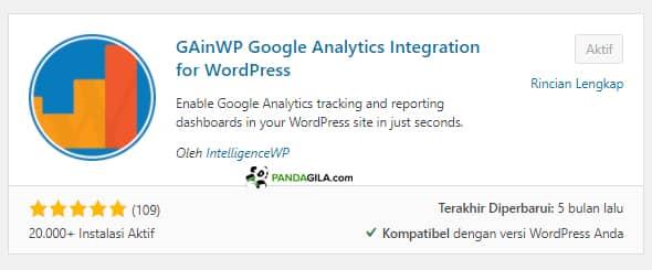 Instal Google Analytics di website dengan GAinWP Google Analytics Integration for WordPress