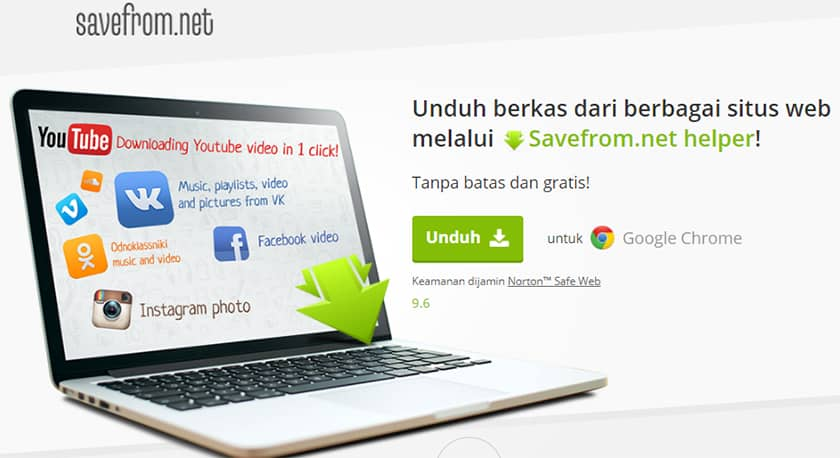 Ekstensi Savefrom.net untuk download video YouTube