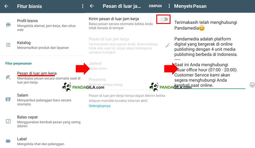 Menyetel pesan di luar jam kerja WhatsApp Bisnis