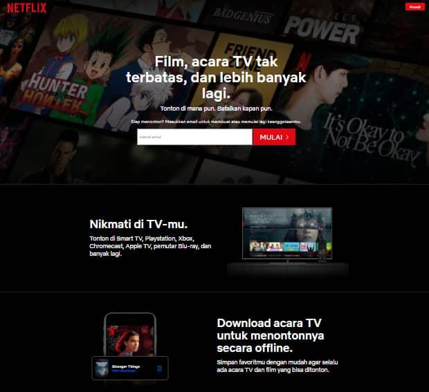 Contoh landing page Netflix