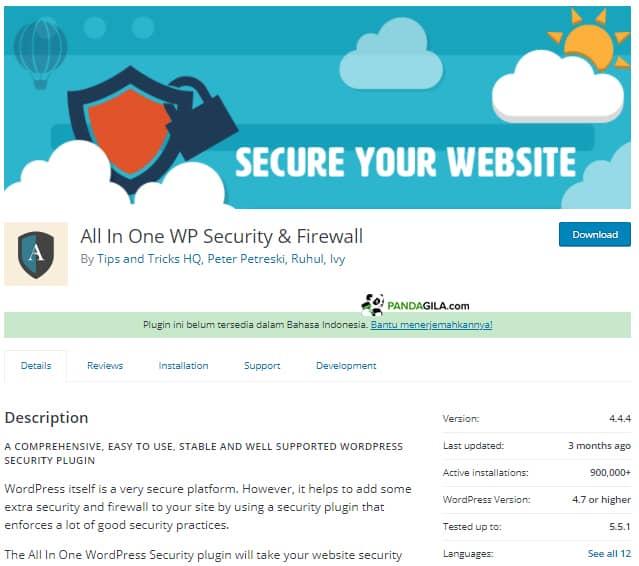 All In One WP Security & Firewall untuk mengganti login WordPress