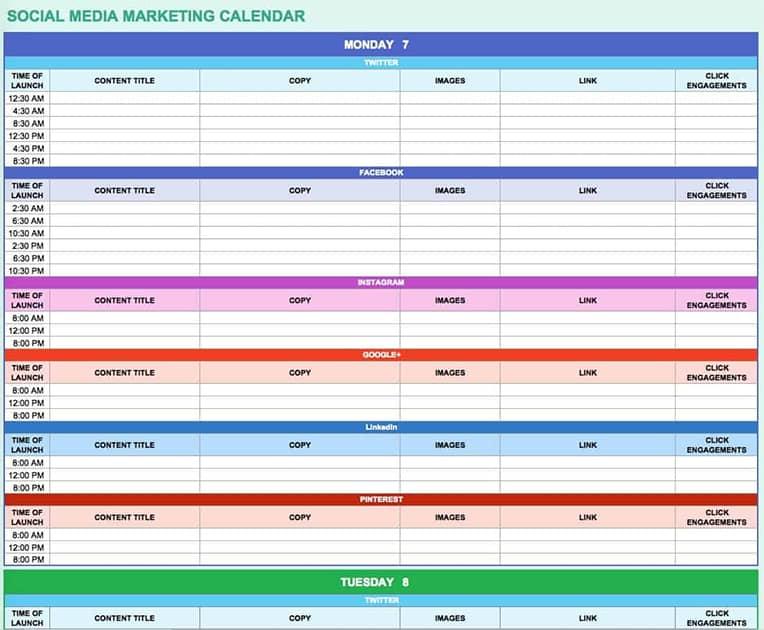 Contoh template kalender editorial