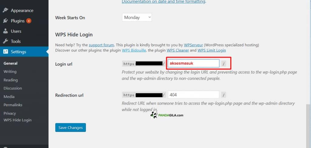 Mengganti url login WordPress dengan WPS Hide Login