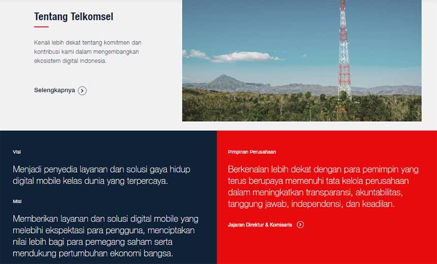 Halaman Tentang Kami Telkomsel