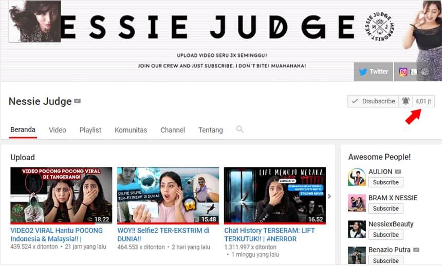 Konten Video YouTube NessieJudge