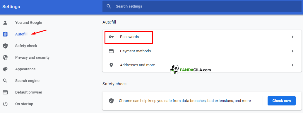 Masuk ke menu Autofill > Password