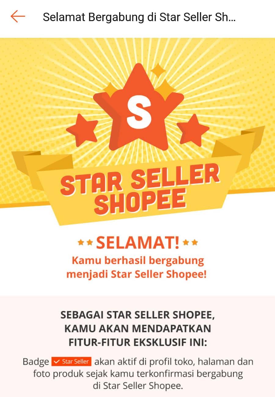Selamat telah menjadi star seller Shopee
