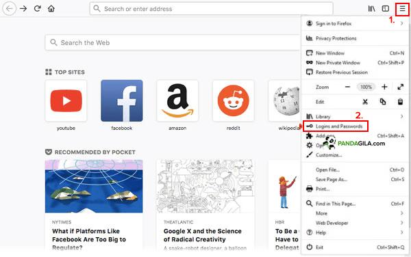 Melihat kata sandi tersimpan di Firefox PC