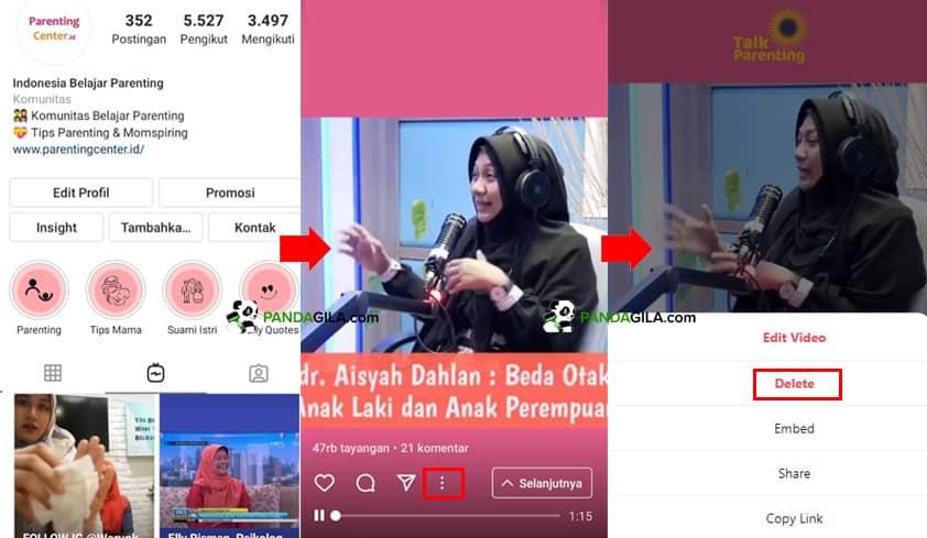Cara menghapus video IGTV Instagram