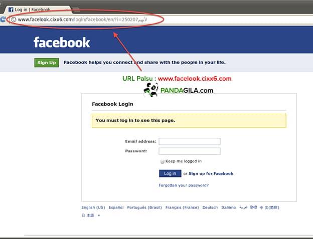 Contoh website palsu Facebook untuk menjaring korban phising