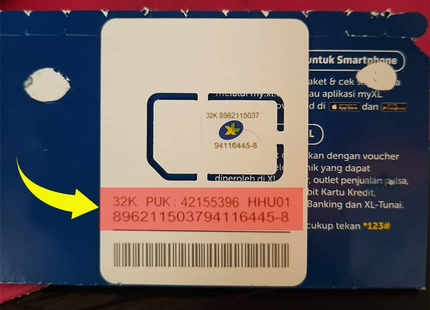 Contoh kode PUK di kerangka SIM Card