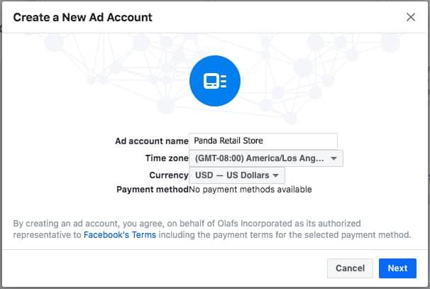 Step 2 membuat ad account di Facebook Manajer