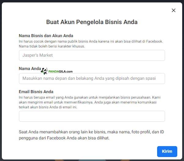Membuat akun Facebook Business Manager