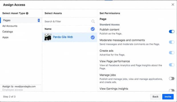 Mengatur akses orang di Bisnis Manager Facebook