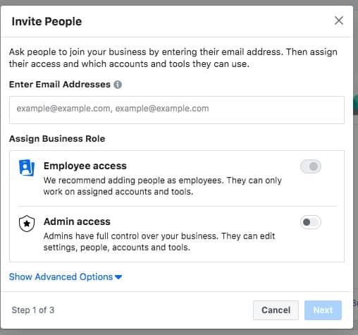 Cara mengundang orang untuk mengelola Bisnis Manager Facebook
