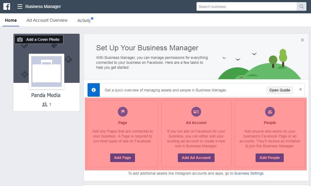 Membuat fanpage, ad account dan menambahkan orang di Bisnis Manajer Facebook