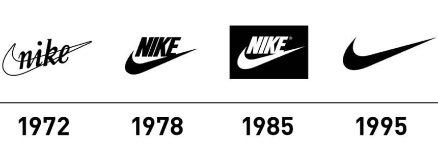 Evolusi logo Nike dari waktu ke waktu
