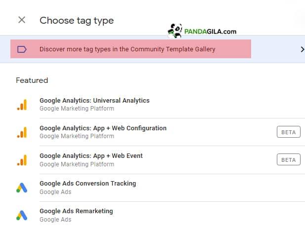 Menggunakan template pihak ketiga di Tag Manager