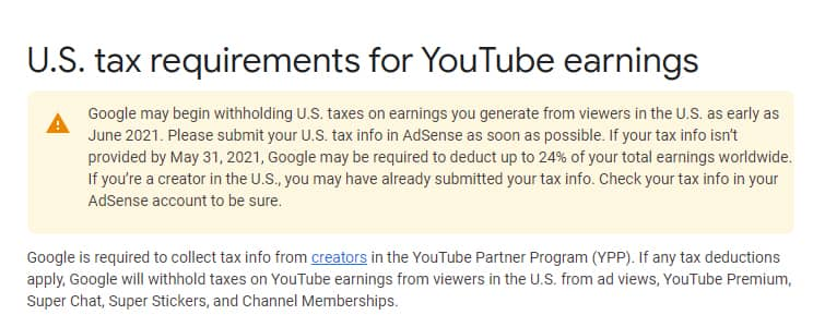 Informasi US Tax Requirement
